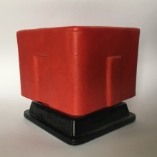 Graniver cactus pot red square with black dish by A.D. Copier