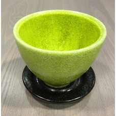 Roccaver green flower pot with dish by A.D. Copier