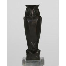 Bronze owl on pedestal, possibly by J.C. Altorf