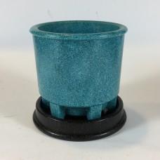 Blue Graniver cactus pot with black dish by A.D. Copier