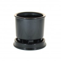 Copier cactus pot black pressed glass with accompanying dish