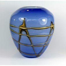 Blue glass vase with gold coloured decoration