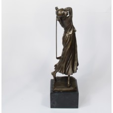 Bronze sculpture of lady playing golf - Art Nouveau