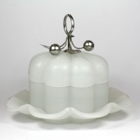 Opaline glass bowl with dish and silver fitting