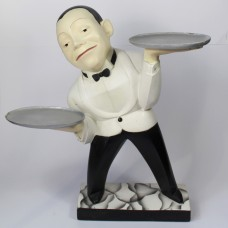 Sculpture of waiter with two dishes