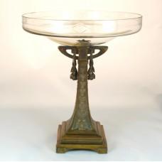 Art Deco Centerpiece, crystal dish on brass foot