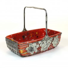 Flower basket / jardiniere with red glass dish in braided metal basket