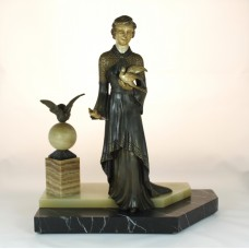 Bronze sculpture of woman with dove on marble pedestal - Jugendstil
