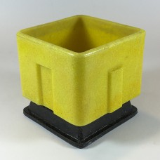 Graniver cactus pot low yellow square with black dish by A.D. Copier