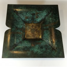 Brass dish with green decoration / patina by WMF IKORA