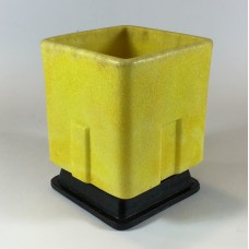 Graniver cactus pot high yellow square with black dish by A.D. Copier