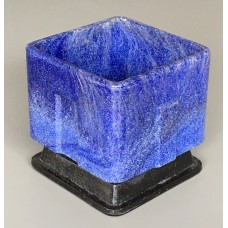 Graniver cactus pot blue square with black dish by A.D. Copier
