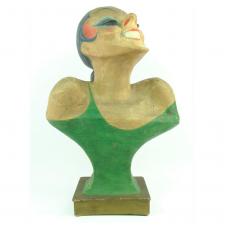 Cartoonish papier-mâché bust of laughing woman, Belle Époque period