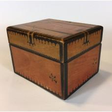 Wooden playing cards box, batik decoration, Art Deco
