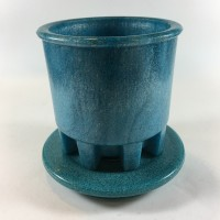 Blue Graniver cactus pot with unique blue dish by A.D. Copier