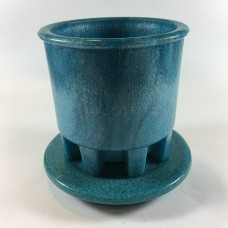Blue Graniver cactus pot with unique blue dish by A.D. Copier