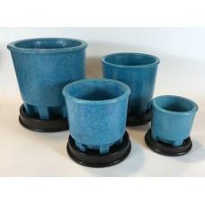 Copier graniver cactus pots blue and original dishes - Set of 4