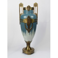Art deco glass vase with brass foot and fittings